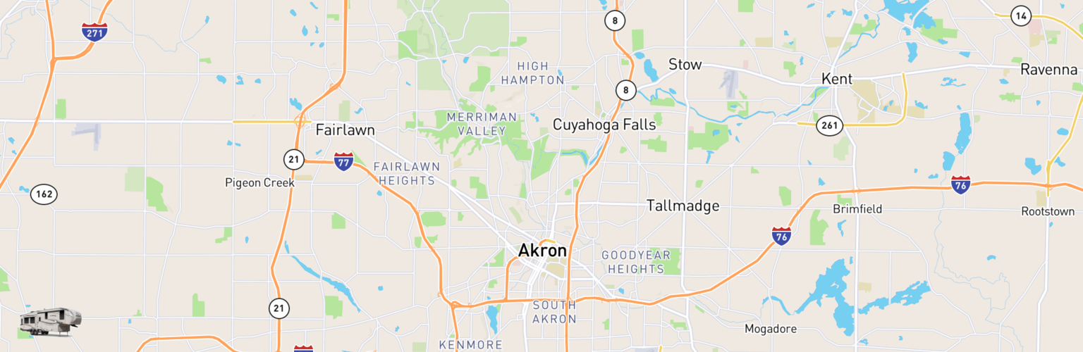 Fifth Wheel Rentals Map Akron, OH