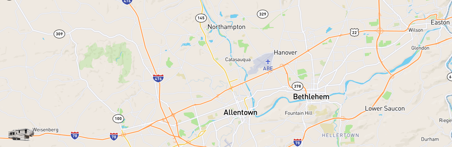 Fifth Wheel Rentals Map Allentown, PA