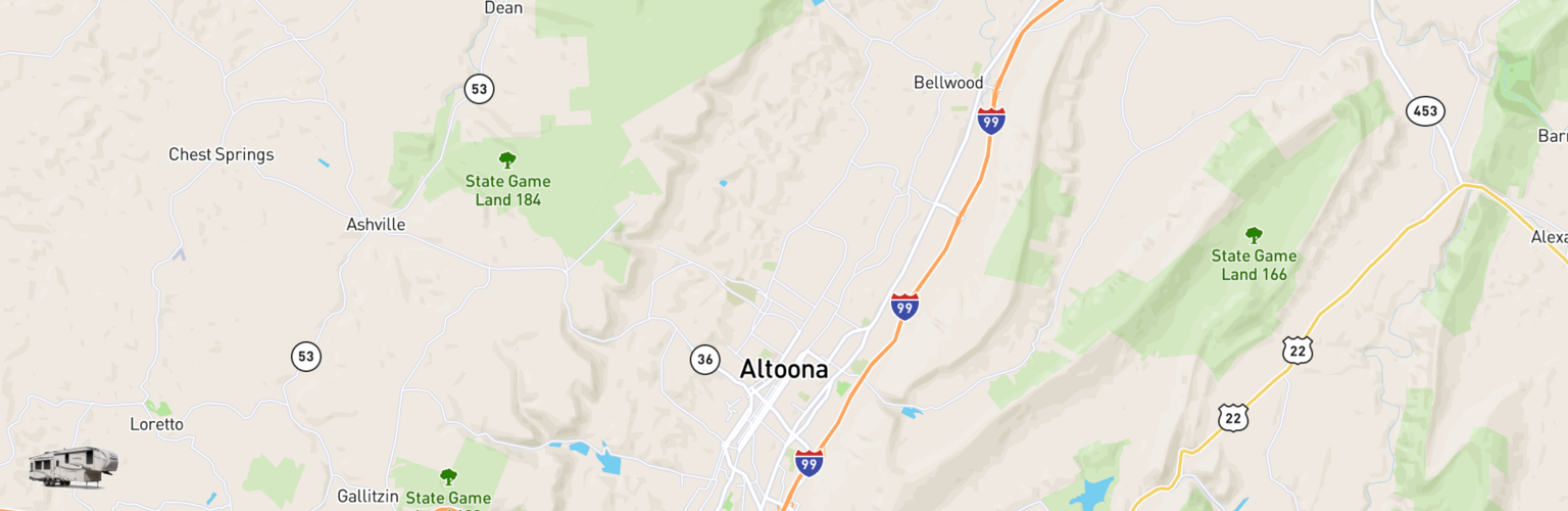 Fifth Wheel Rentals Map Altoona Johnstown, PA