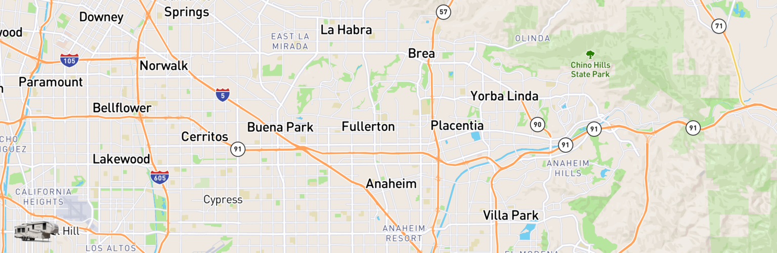 Fifth Wheel Rentals Map Anaheim, CA