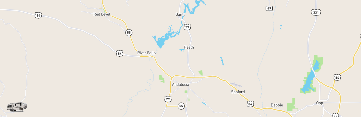 Fifth Wheel Rentals Map Andalusia, AL