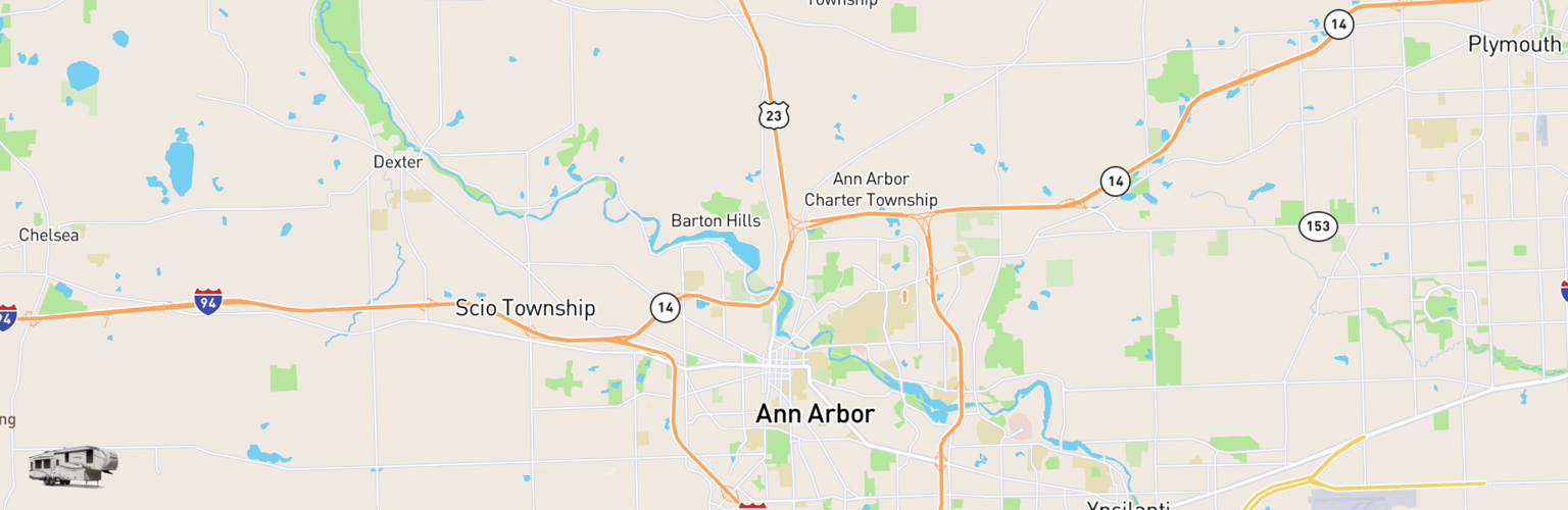 Fifth Wheel Rentals Map Ann Arbor, MI