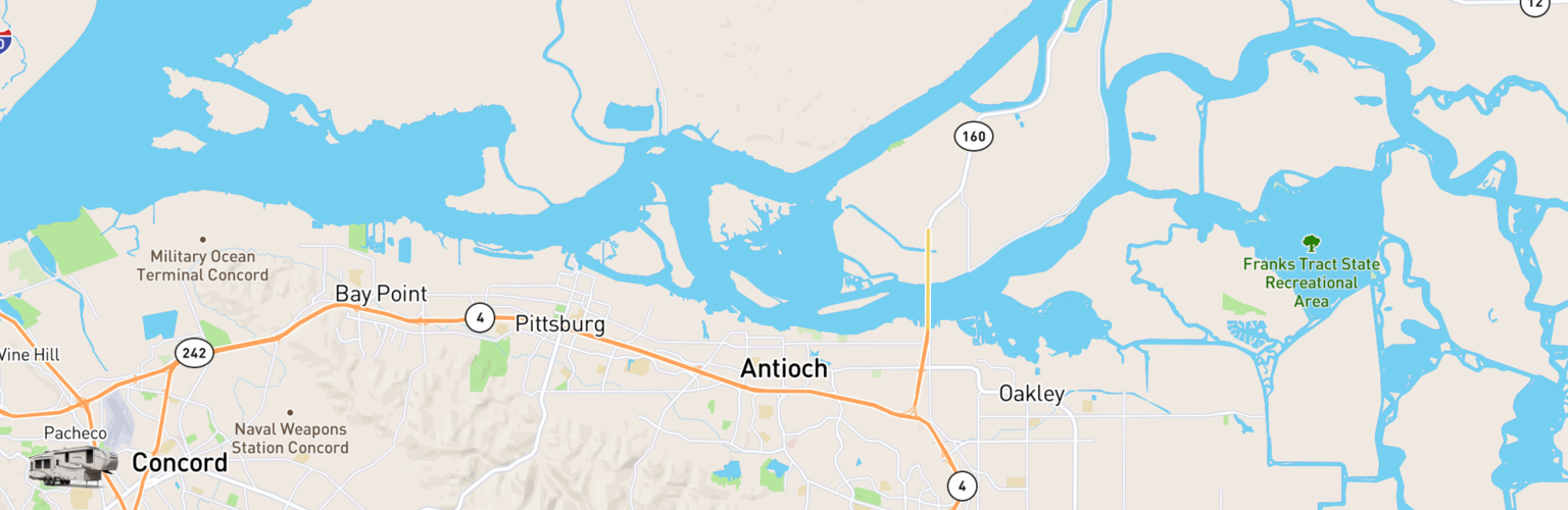 Fifth Wheel Rentals Map Antioch, CA