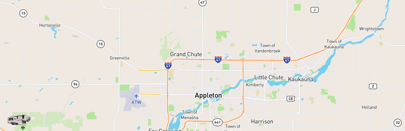 Fifth Wheel Rentals Map Appleton, WI