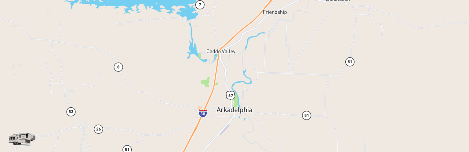 Fifth Wheel Rentals Map Arkadelphia, AR