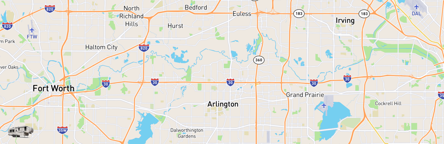 Fifth Wheel Rentals Map Arlington, TX