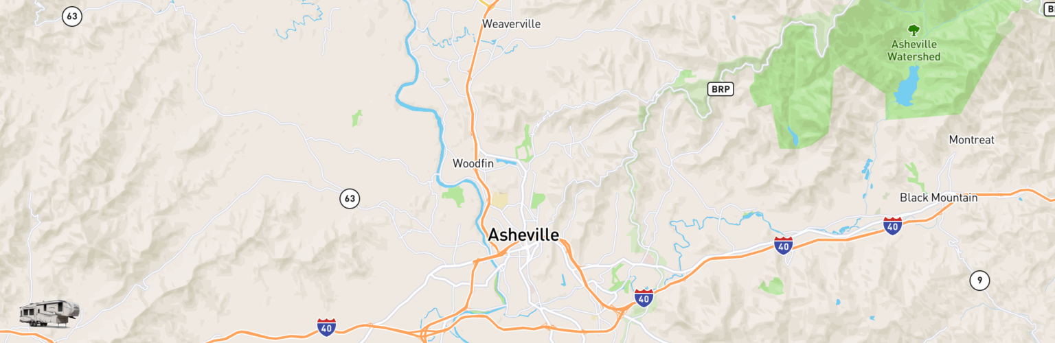 Fifth Wheel Rentals Map Asheville, NC