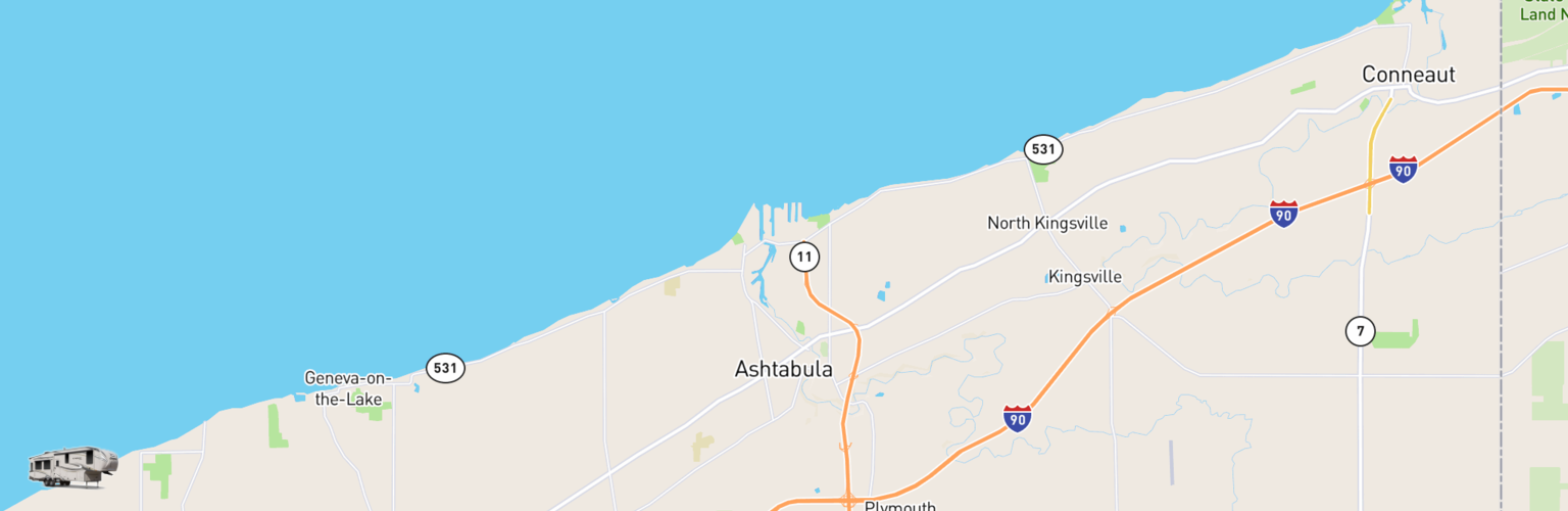 Fifth Wheel Rentals Map Ashtabula, OH
