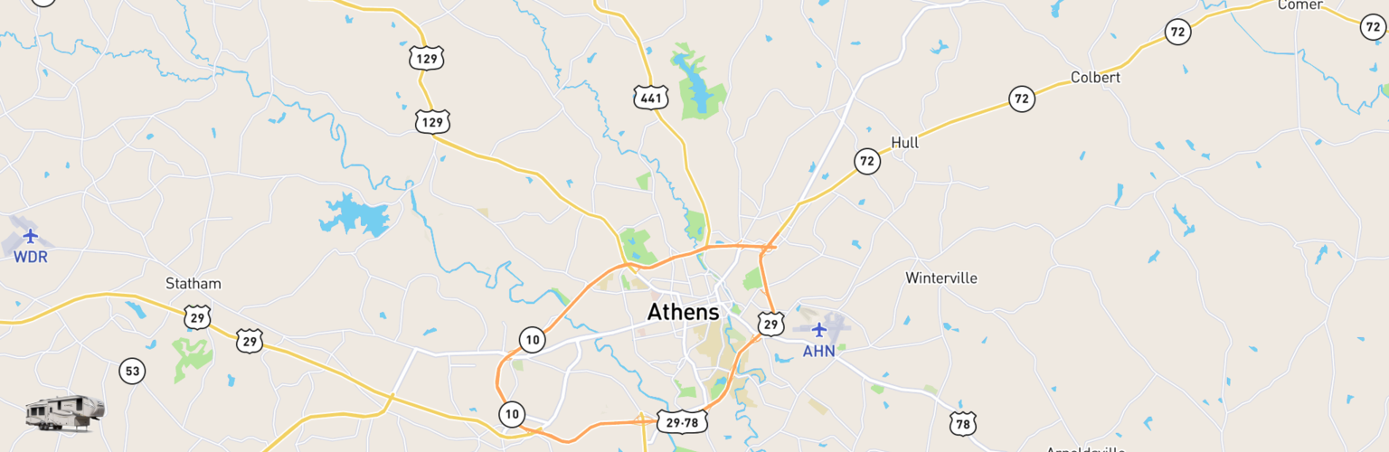 Fifth Wheel Rentals Map Athens, GA