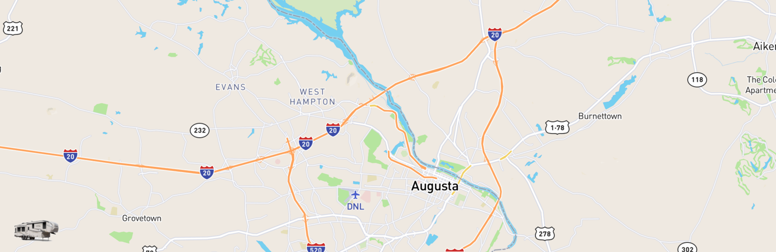 Fifth Wheel Rentals Map Augusta, GA