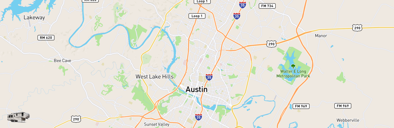 Fifth Wheel Rentals Map Austin, TX