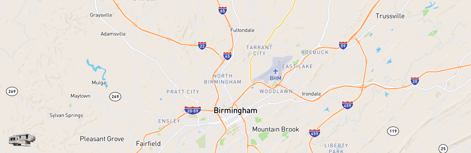 Fifth Wheel Rentals Map Birmingham, AL