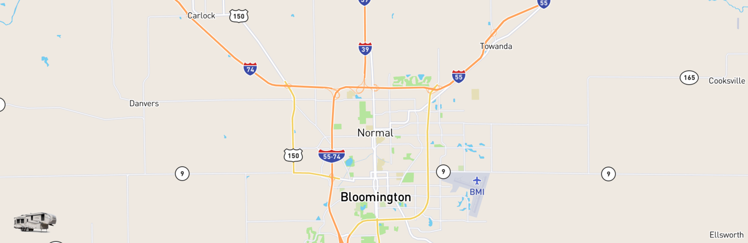 Fifth Wheel Rentals Map Bloomington Normal, IL