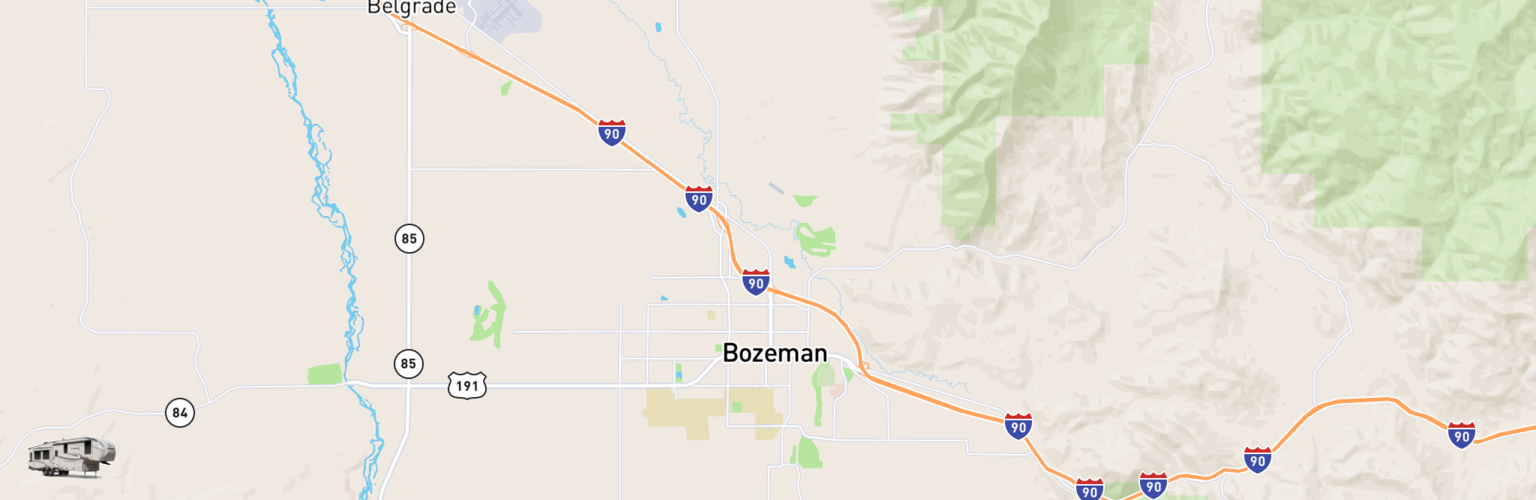Fifth Wheel Rentals Map Bozeman, MT