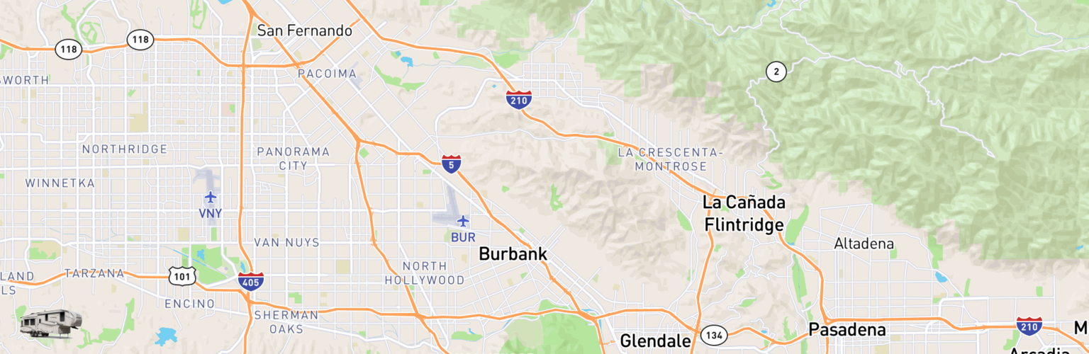 Fifth Wheel Rentals Map Burbank, CA