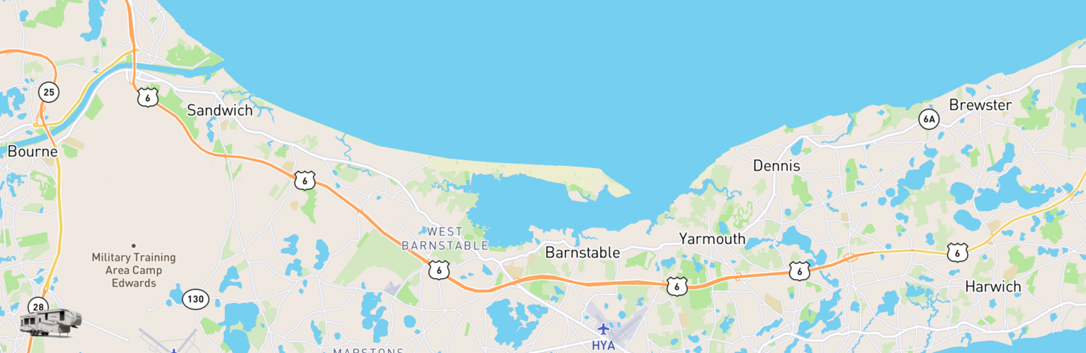 Fifth Wheel Rentals Map Cape Cod, MA