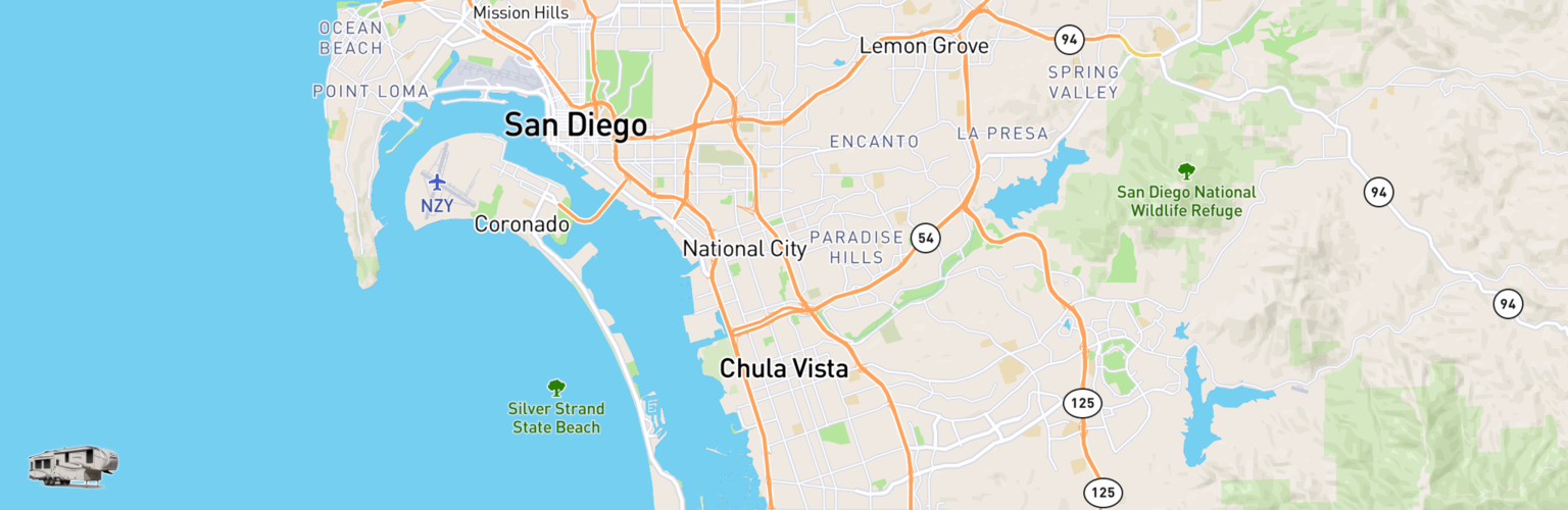 Fifth Wheel Rentals Map Chula Vista, CA