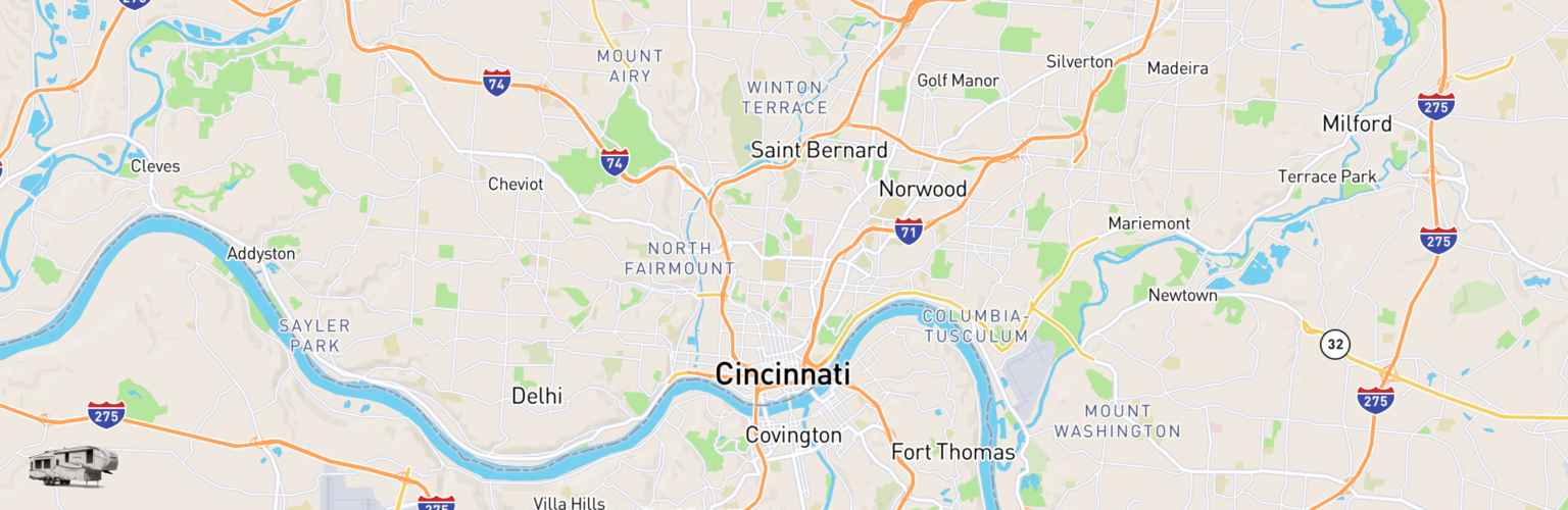 Fifth Wheel Rentals Map Cincinnati, OH