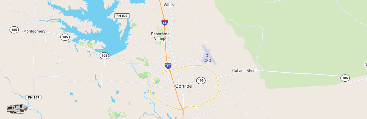 Fifth Wheel Rentals Map Conroe, TX
