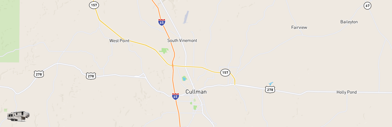 Fifth Wheel Rentals Map Cullman, AL