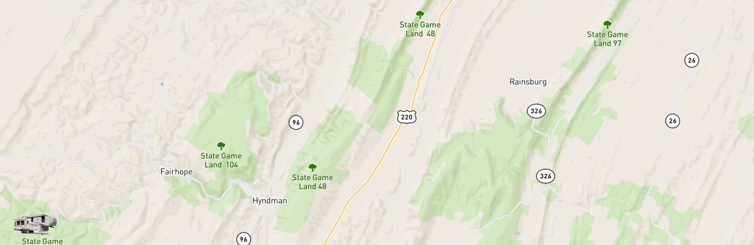 Fifth Wheel Rentals Map Cumberland Valley, PA