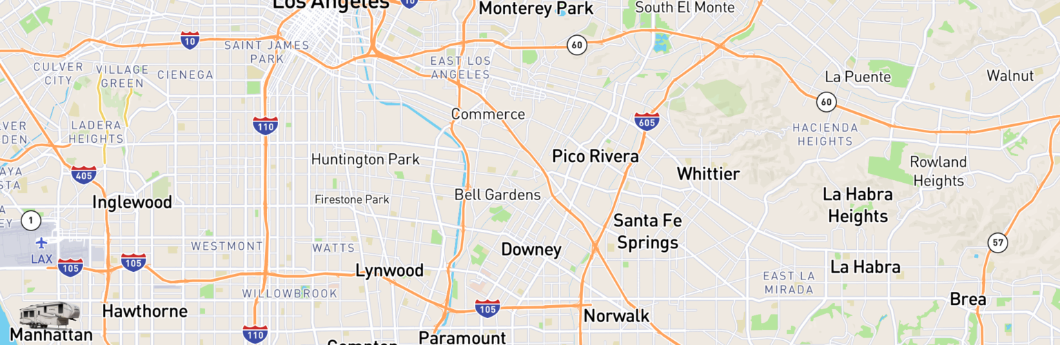 Fifth Wheel Rentals Map Downey, CA