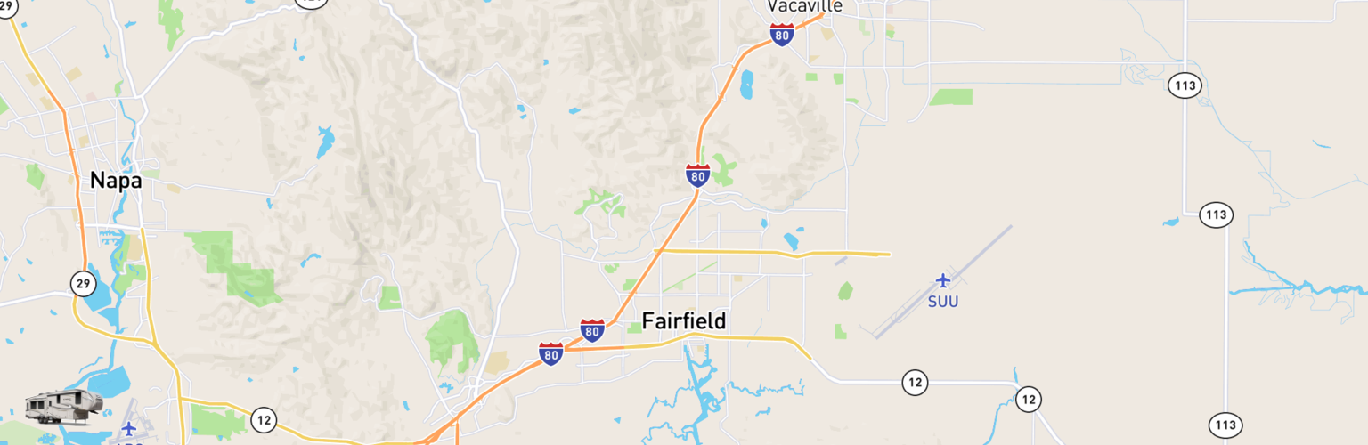 Fifth Wheel Rentals Map Fairfield, CA