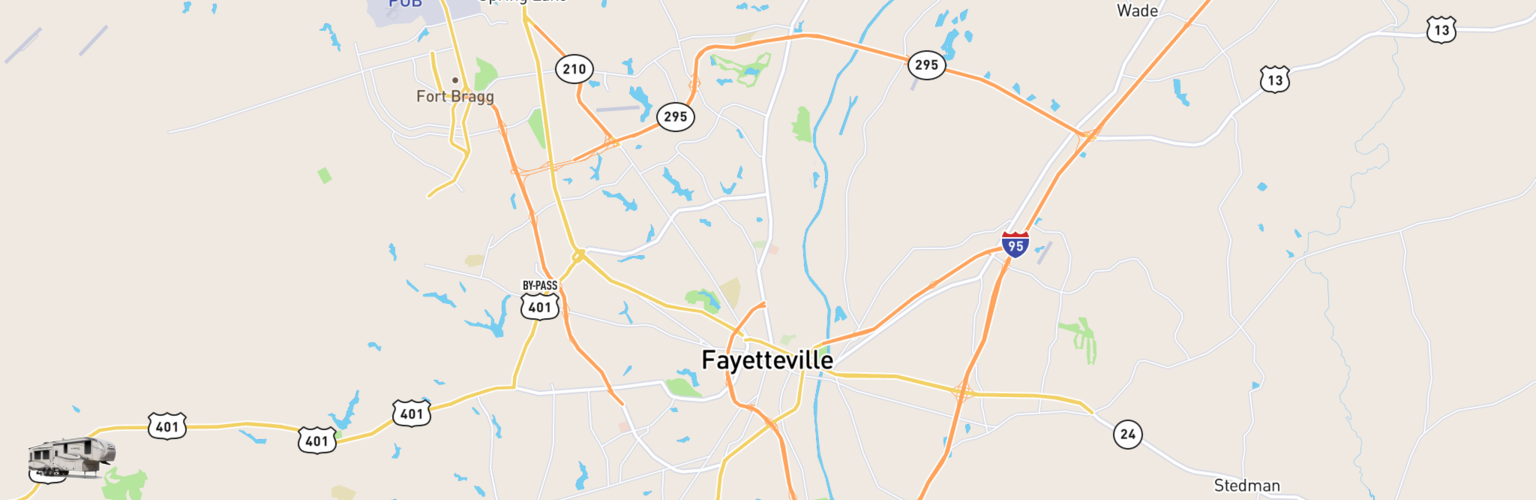 Fifth Wheel Rentals Map Fayetteville, NC