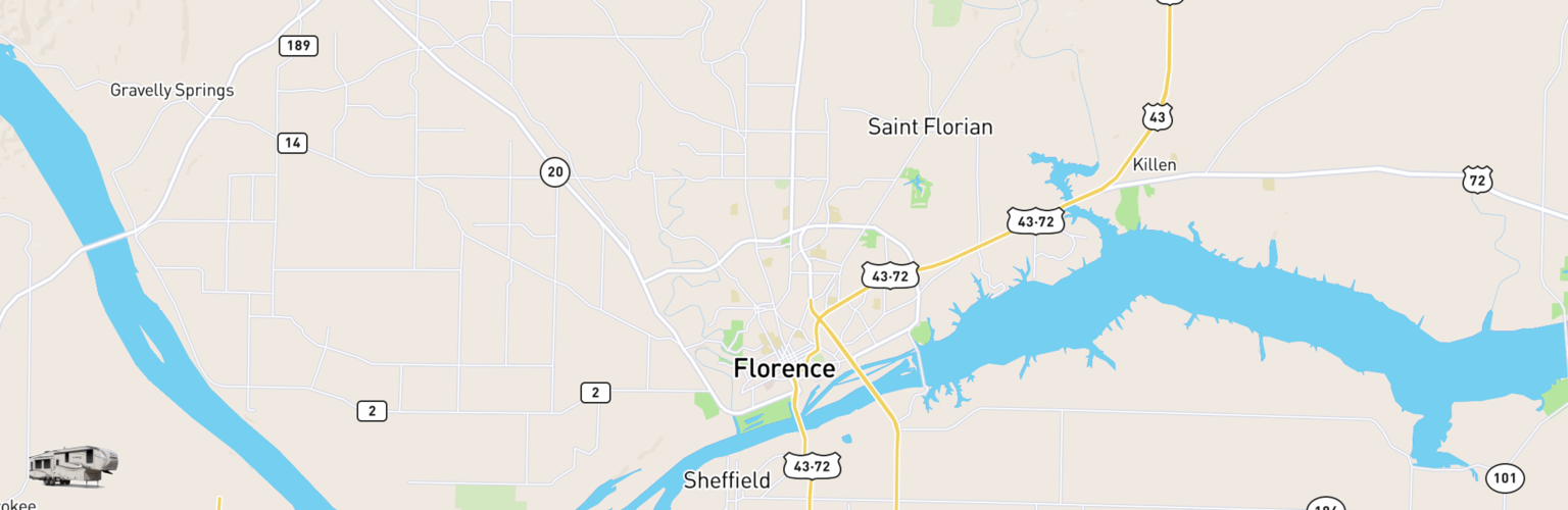 Fifth Wheel Rentals Map Florence, AL