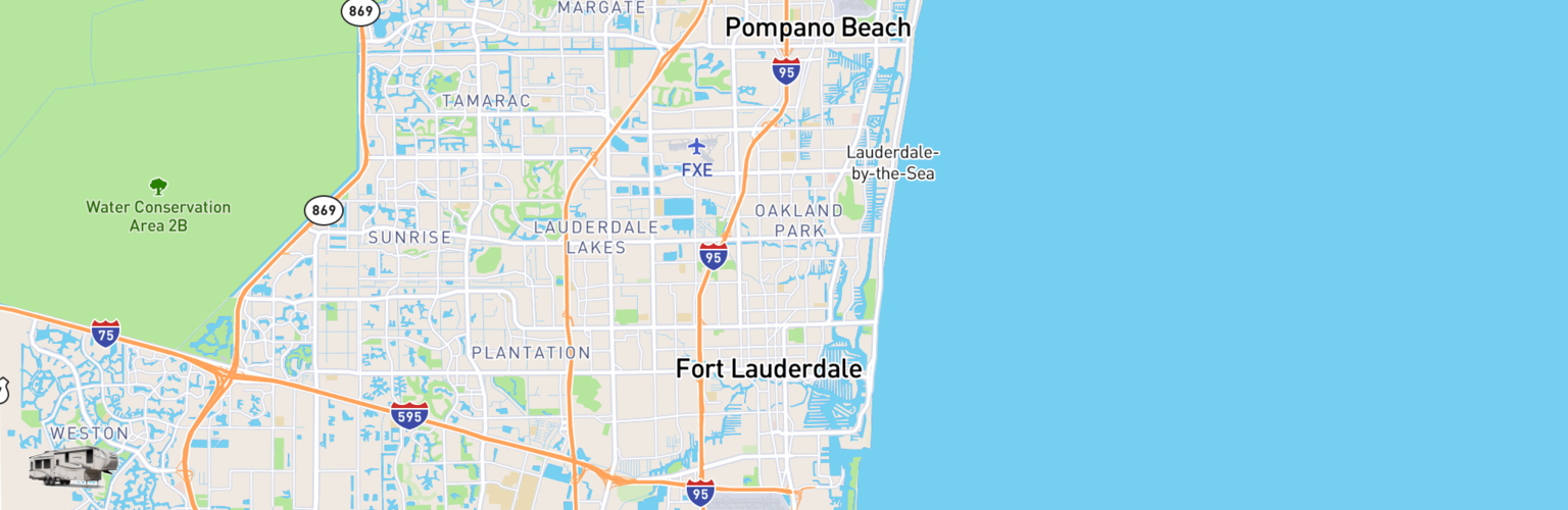Fifth Wheel Rentals Map Fort Lauderdale, FL
