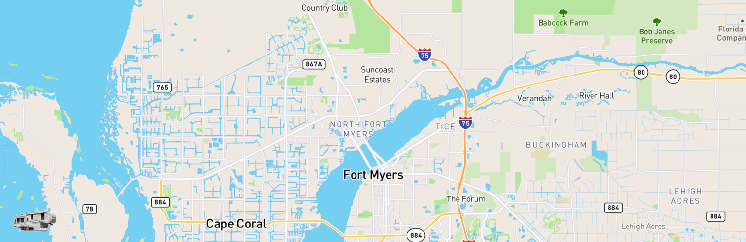 Fifth Wheel Rentals Map Fort Myers, FL