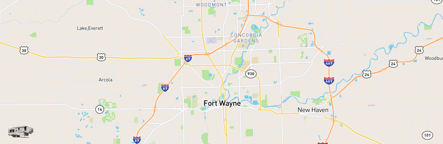 Fifth Wheel Rentals Map Fort Wayne, IN