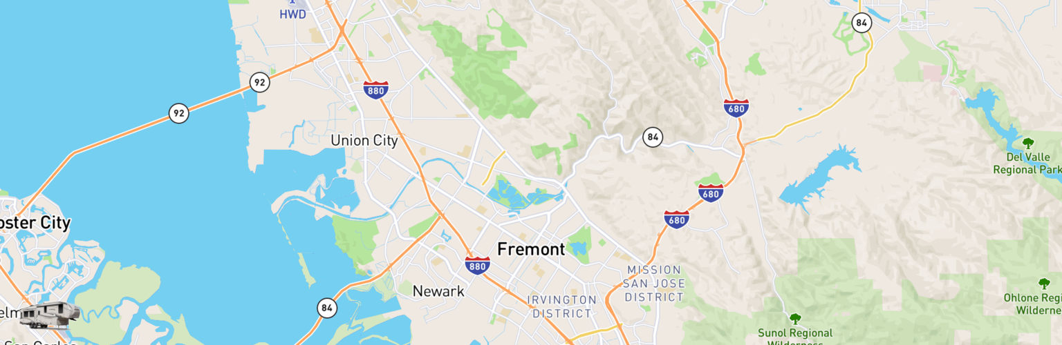 Fifth Wheel Rentals Map Fremont, CA