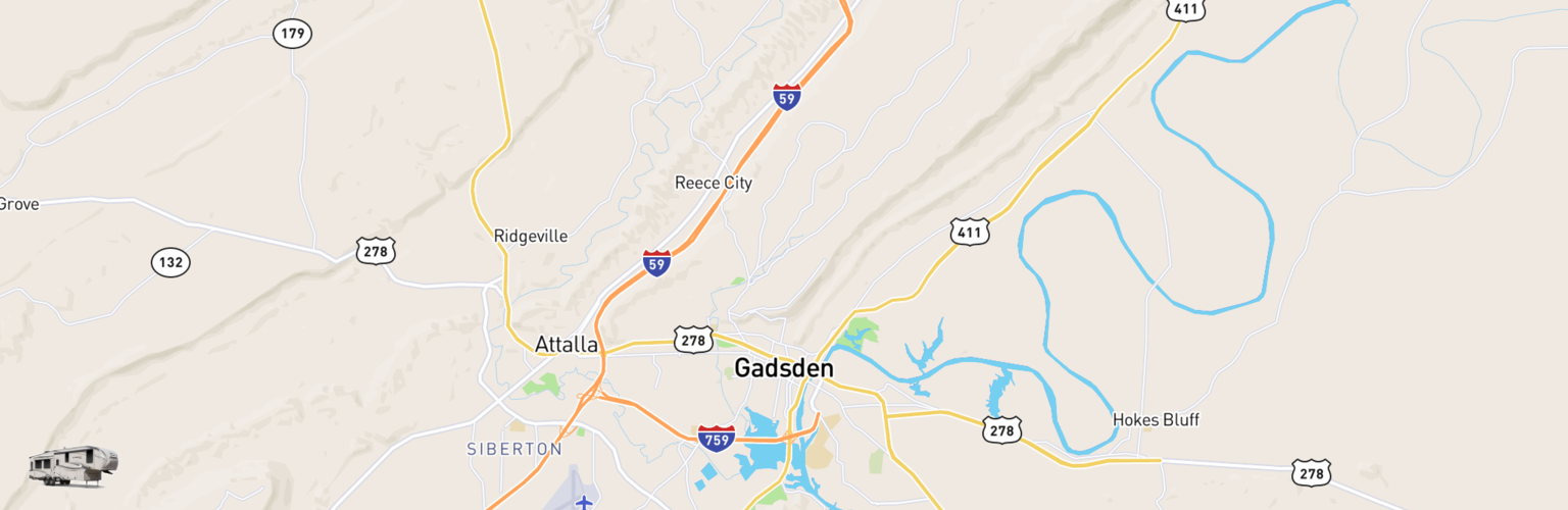 Fifth Wheel Rentals Map Gadsden, AL