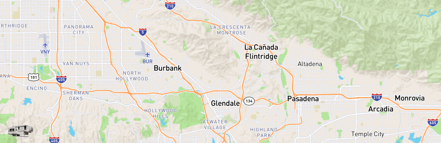 Fifth Wheel Rentals Map Glendale, CA