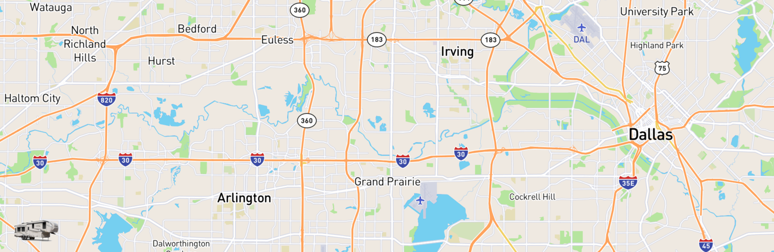 Fifth Wheel Rentals Map Grand Prairie, TX