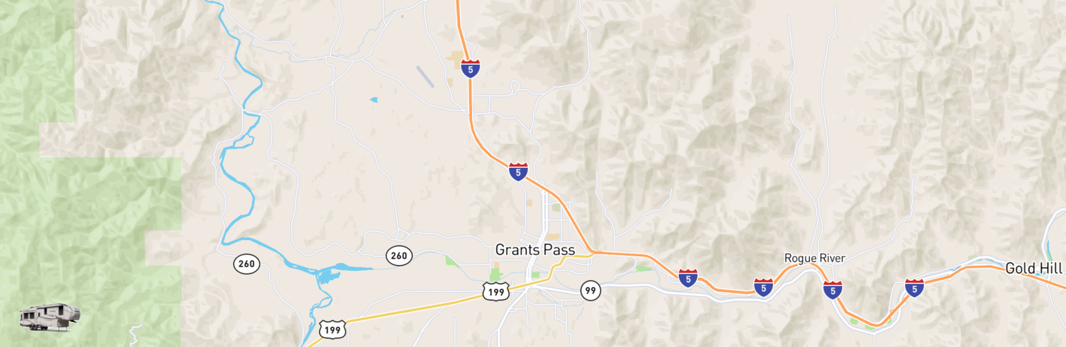 Fifth Wheel Rentals Map Grants Pass, OR
