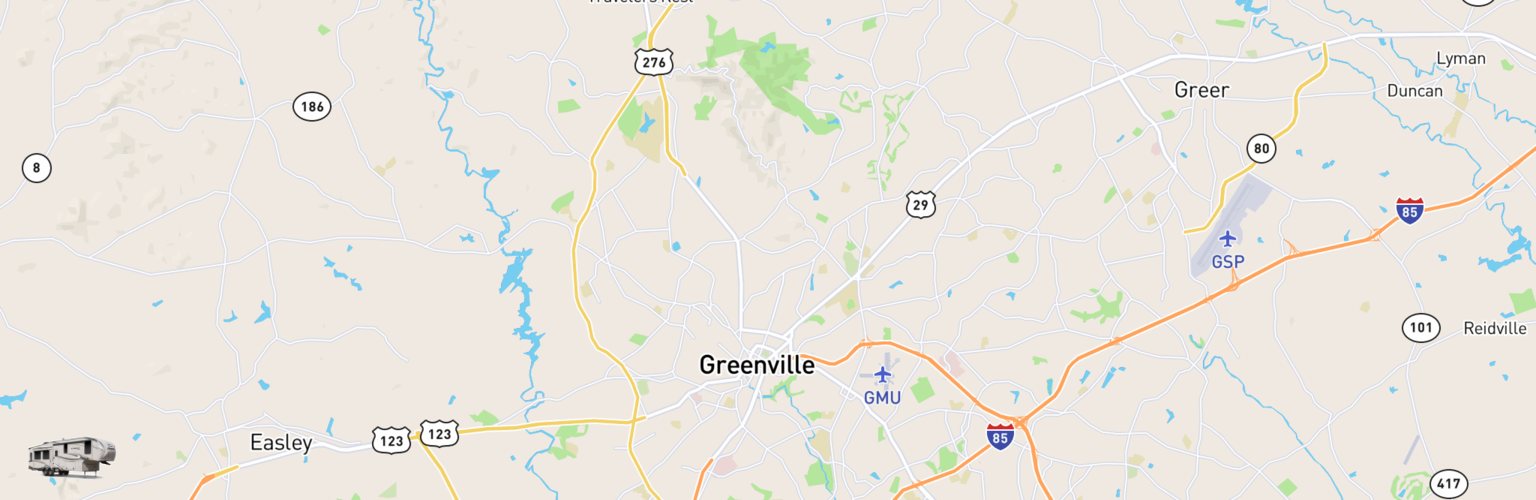 Fifth Wheel Rentals Map Greenville, SC