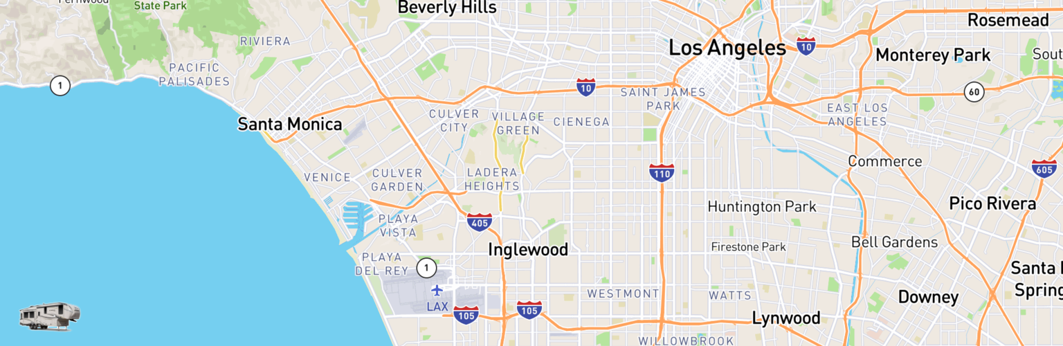 Fifth Wheel Rentals Map Inglewood, CA