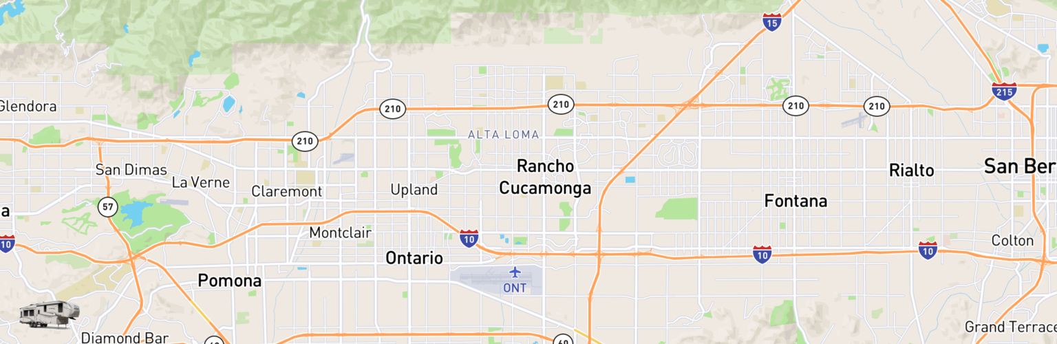 Fifth Wheel Rentals Map Inland Empire, CA