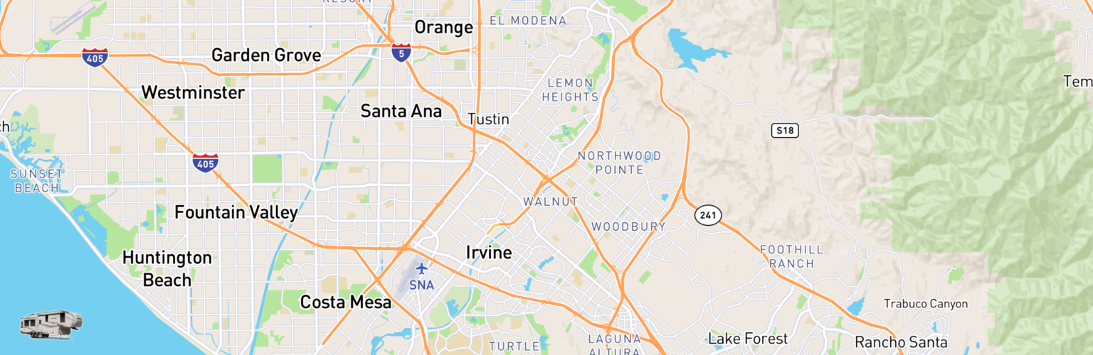 Fifth Wheel Rentals Map Irvine, CA