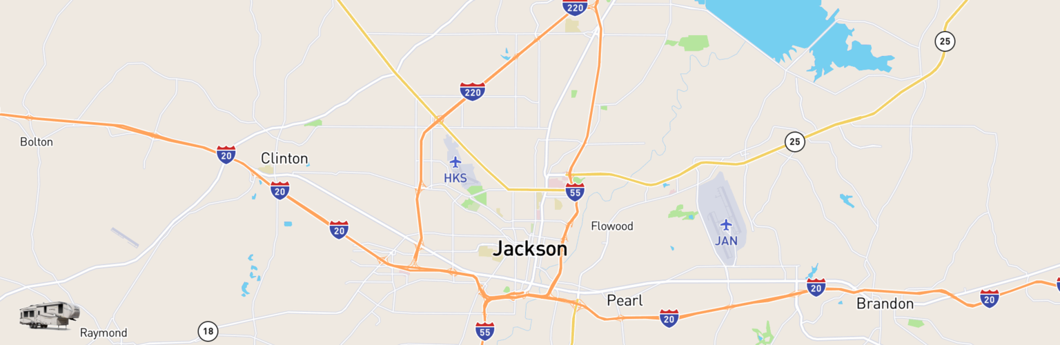 Fifth Wheel Rentals Map Jackson, MS