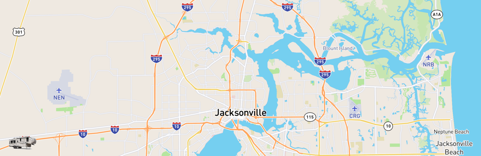 Fifth Wheel Rentals Map Jacksonville, FL
