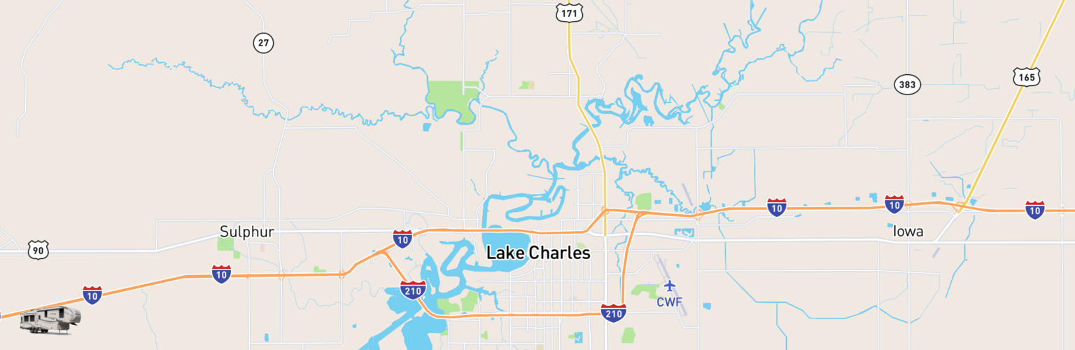 Fifth Wheel Rentals Map Lake Charles, LA