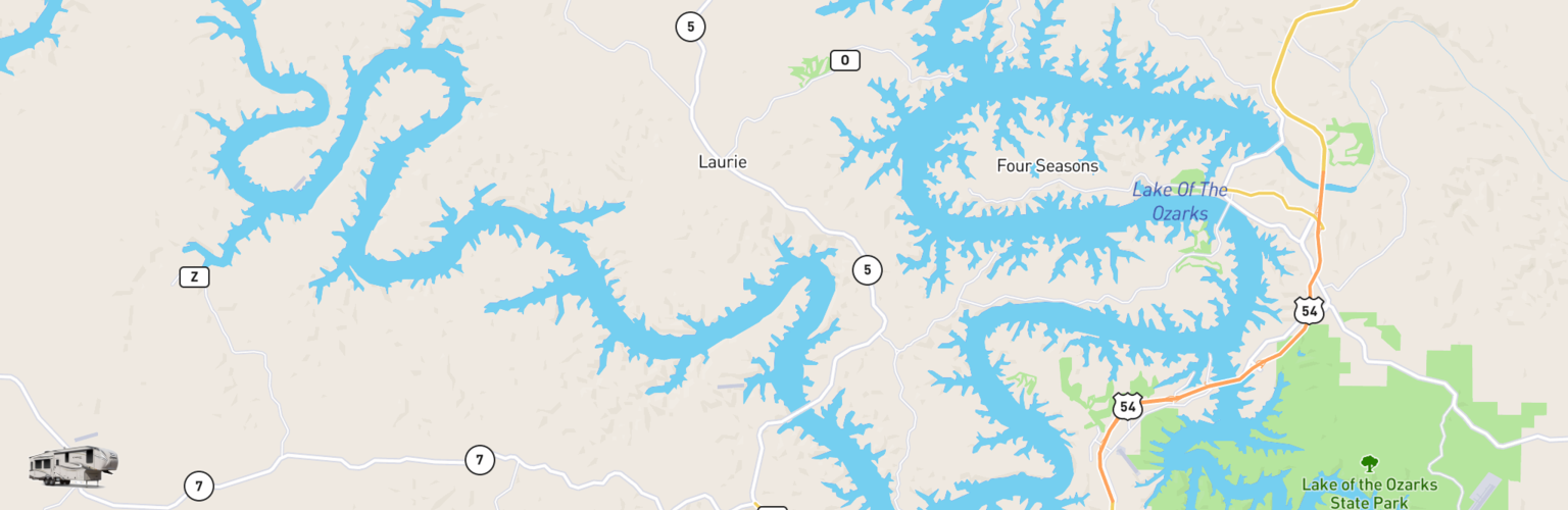 Fifth Wheel Rentals Map Lake Of The Ozarks, MO