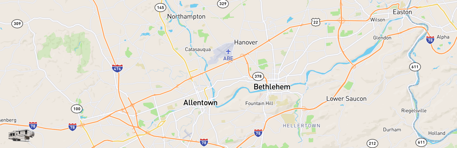 Fifth Wheel Rentals Map Lehigh Valley, PA
