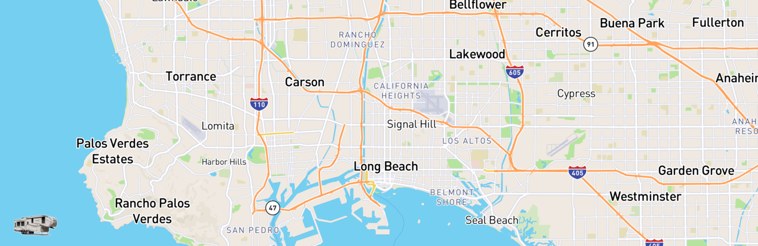 Fifth Wheel Rentals Map Long Beach, CA