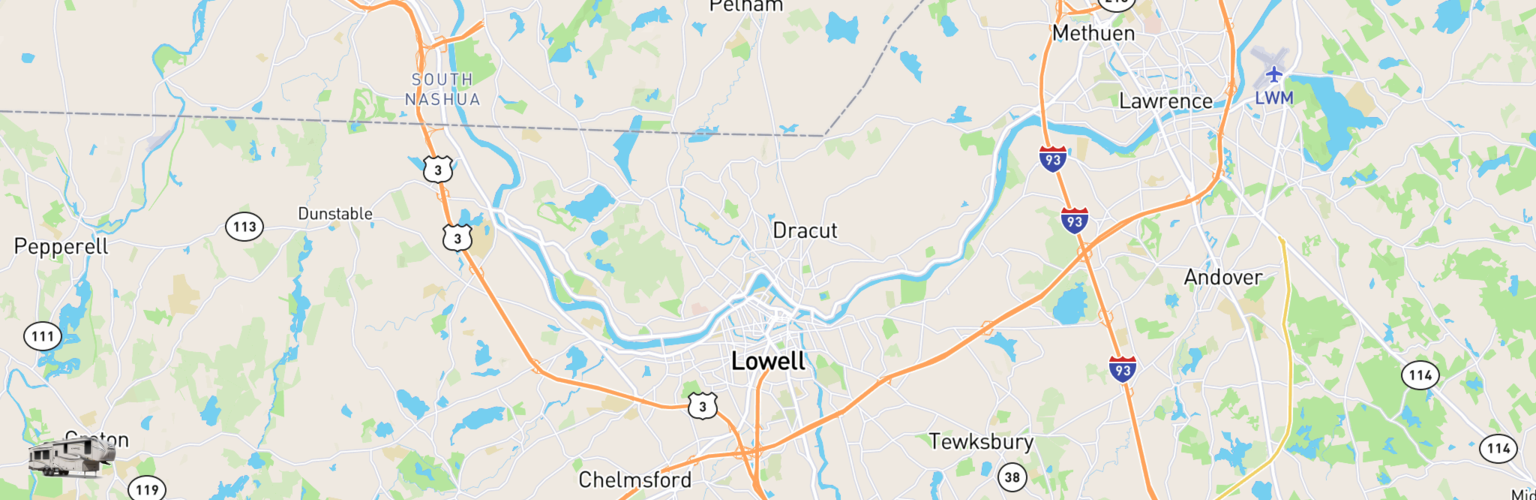 Fifth Wheel Rentals Map Lowell, MA