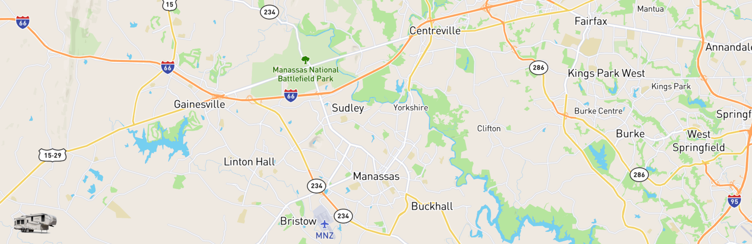 Fifth Wheel Rentals Map Manassas, VA