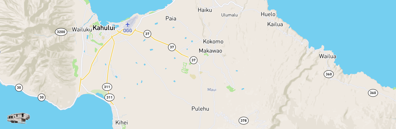 Fifth Wheel Rentals Map Maui, HI
